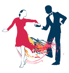 silhouettes of a dancing couple vector image