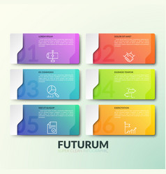 six gradient colored rectangular elements with vector image