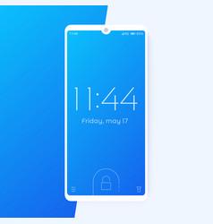 smartphone with lock screen phone mockup vector image
