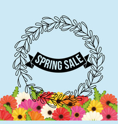 Spring sale flowers crown leaves festive vector