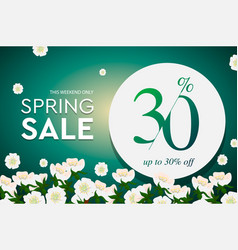 Spring sale poster up to 30 off vector