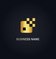 Square digital pixel logo vector