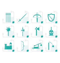 Stylized medieval arms and objects icons vector