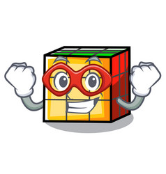 Super hero rubik cube character cartoon vector