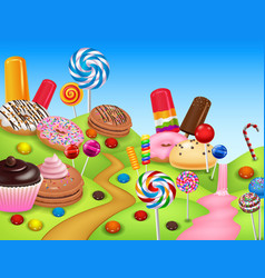 Sweet candyland with cupcake ice cream donut lo vector