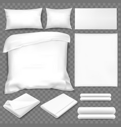Top view double sleeping set white linen vector