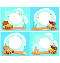 treasures in chest sea water vector image