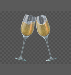 Two champagne glasses toast wineglasses with vector