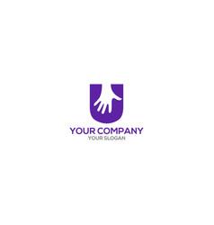 U hand logo design vector