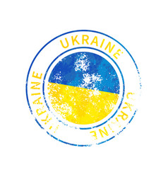 ukraine sign vintage grunge imprint with flag on vector image