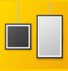 wall picture frame templates isolated on orange vector image
