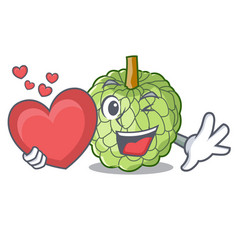 With heart fresh custard apple sweet fruit cartoon vector