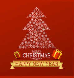 xmas greetong card on red background with vector image