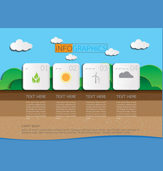 4 steps infographic nature background vector