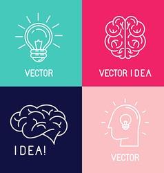 brain logo design elements vector image vector image