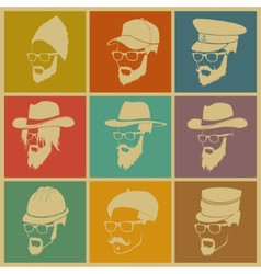 colorful of icons of people in hats vector image vector image