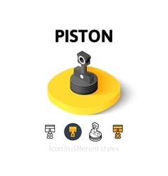 Piston icon in different style vector image
