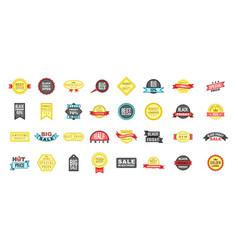 sale badge icon set cartoon style vector image