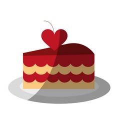 cake heart flat shadow vector image vector image