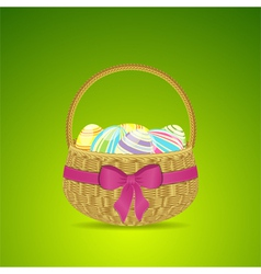 Easter basket and eggs on a green background vector image