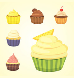 set of cute cupcakes and muffins colorful vector image vector image