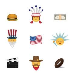 Set of usa emoticon vector image