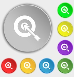target icon sign Symbol on eight flat buttons vector image