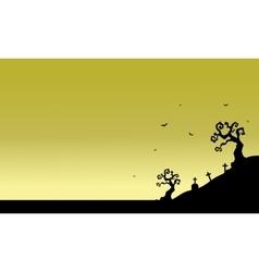 Tomb scenery of silhouette halloween vector