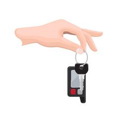 car key in human hand flat vector image