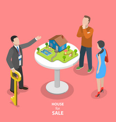 house for sale isometric flat concept vector image vector image