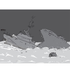 Modern Warship Sinking vector image vector image