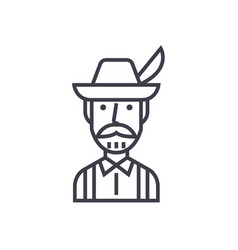 bavarian man concept thin line icon symbol vector image vector image