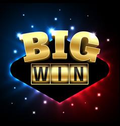 big win casino banner for poker roulette slot vector image vector image
