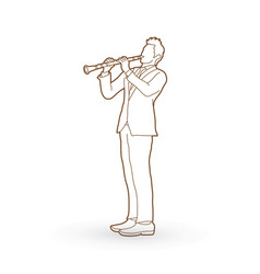 clarinetist player a man play clarinet vector image