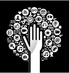 Global social media hand tree vector image