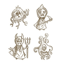 Halloween monsters isolated spooky cartoon vector image vector image