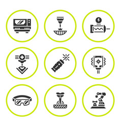 set round icons of laser vector image vector image