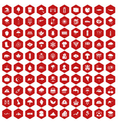 100 rain icons hexagon red vector