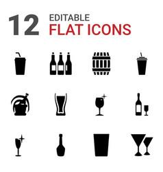 12 wine icons vector