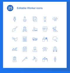 25 worker icons vector image