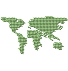 3D green dots earth vector image