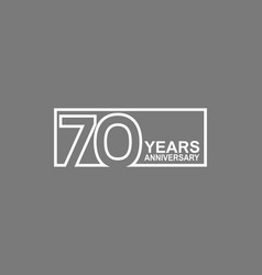 70 years anniversary logotype with white color vector
