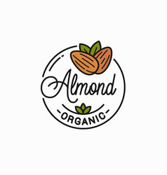 almond nut logo round linear almonds on white vector image