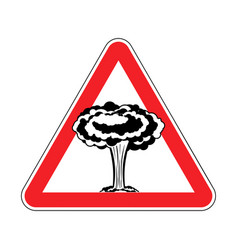 Attention nuclear explosion war is prohibited red vector