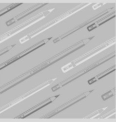 back to school grayscale seamless pencils pattern vector image