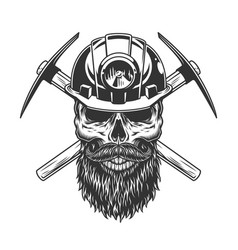 Bearded and mustached miner skull vector