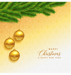 Beautiful merry christmas greeting with leaves vector