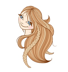 Beautiful woman with long blonde hair vector image