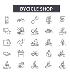 bicycle shop line icons for web and mobile design vector image