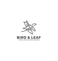 bird line art with leaf design concept template vector image
